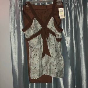 BCBG blue and brown silk top